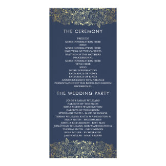 Gold and Navy | Chic Floral Wedding Program Personalised Rack Card