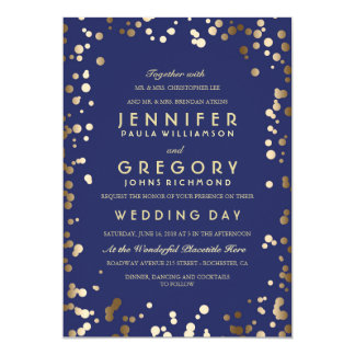 Gold and Navy Confetti Elegant Vintage Wedding Card