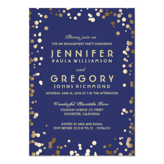 Gold and Navy Confetti Vintage Engagement Party Card