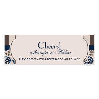 Gold and Navy Damask Wedding Drink Ticket Business Cards