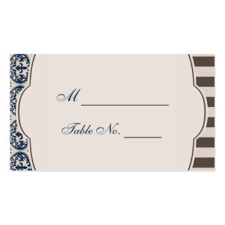 Gold and Navy Damask Wedding Place Cards Business Cards