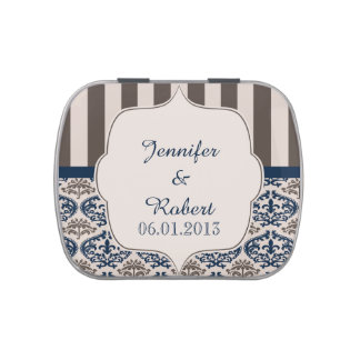 Gold and Navy Damask Wedding Tins Jelly Belly Candy Tins