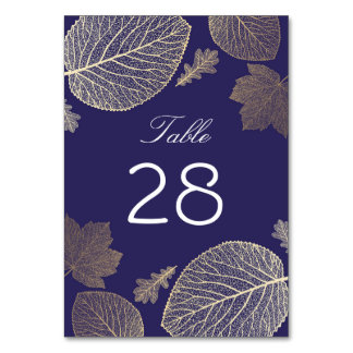 Gold and Navy Fall Leaves Wedding Card