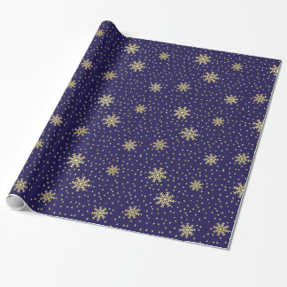 Gold and Navy Snowflake Holiday Wrapping Paper