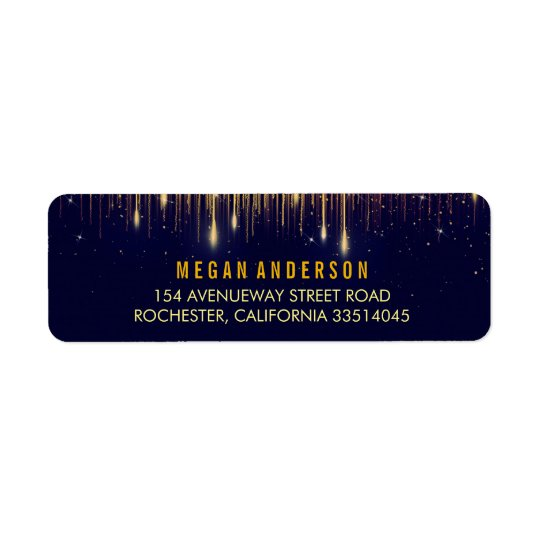 Gold and Navy String Lights Glitter Wedding Return Address Label