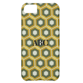 Gold and Olive Green Tiled Hex Case for iPhone5