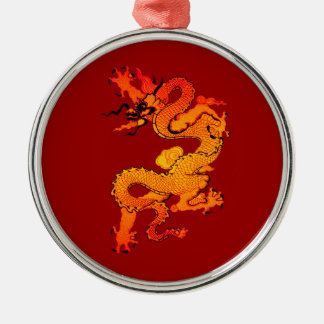 Gold and Orange Dragon for Chinese New Year Silver-Colored Round Decoration