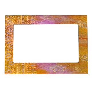 Gold and orange floral oriental material magnetic frame