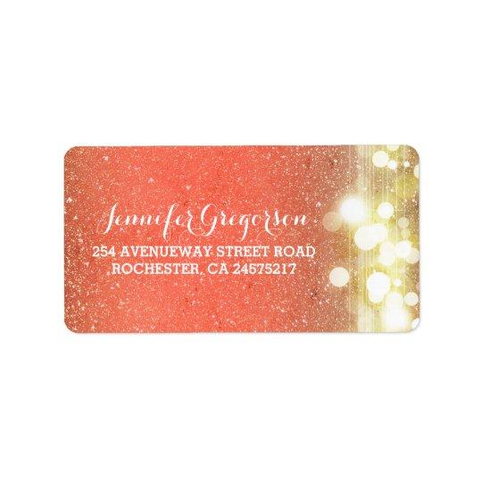 Gold and Peach String Lights Chic Wedding Address Label