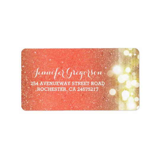 Gold and Peach String Lights Chic Wedding Label