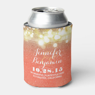 Gold and Peach String Lights Glam Wedding Can Cooler