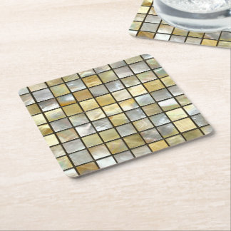Gold and Pearl Tiles Square Paper Coaster