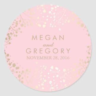 Gold and Pink Baby's Breath Wedding Round Sticker