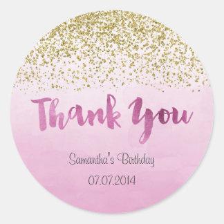 Gold and Pink Birthday Sticker