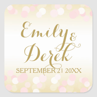 Gold and Pink Bokeh Sparkle Square Sticker