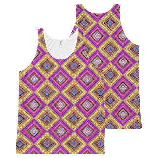 Gold and Pink Checkered All-Over Print Singlet