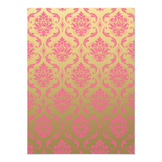 Gold and Pink Classic Damask 14 Cm X 19 Cm Invitation Card
