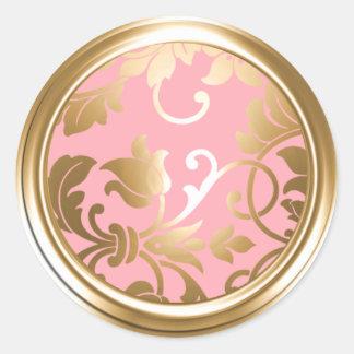 Gold and Pink Damask Envelope Seal Round Sticker