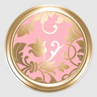 Gold and Pink Damask Envelope Seal Round Sticker
