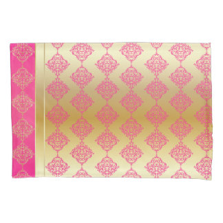 Gold and Pink Damask Pattern Design Pillowcase