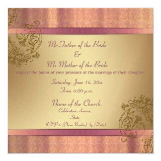 "Gold and Pink elegant damask wedding invitations 5.25"" Square Invitation Card"