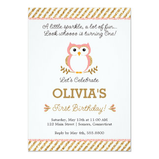 Gold and Pink First Birthday Owl Invitation