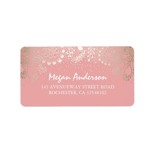 Gold and Pink Garden Wonderland Wedding Address Label