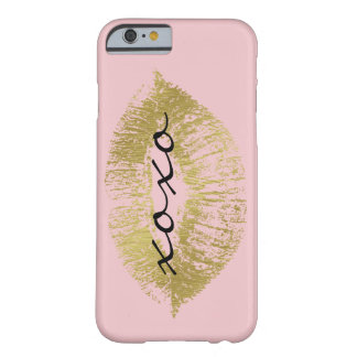 Gold and Pink Glam Lips XOXO Barely There iPhone 6 Case