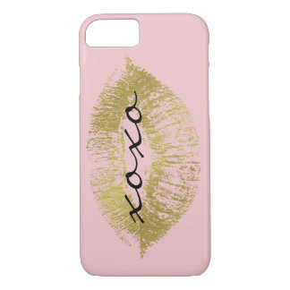 Gold and Pink Glam Lips XOXO iPhone 7 Case
