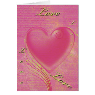 Gold and Pink Heart Invitation Note Card