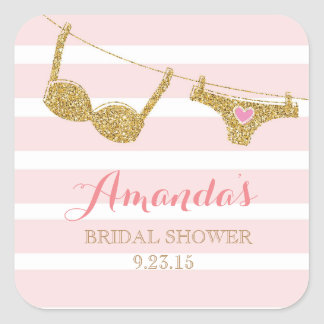 Gold and Pink Lingerie Bridal Shower Favor Sticker