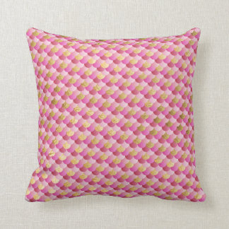 Gold and Pink Mermaid Scales Cushion