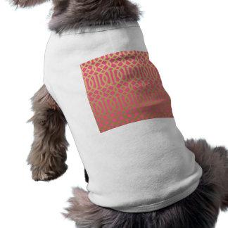 Gold and Pink Modern Trellis Pattern Doggie Tee Shirt
