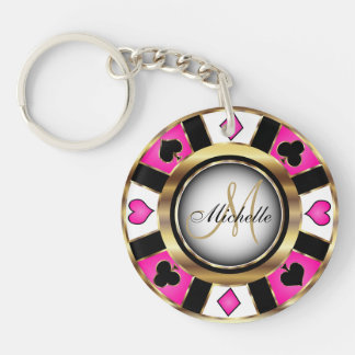 Gold and Pink Poker Chip Design - Monogram Double-Sided Round Acrylic Key Ring