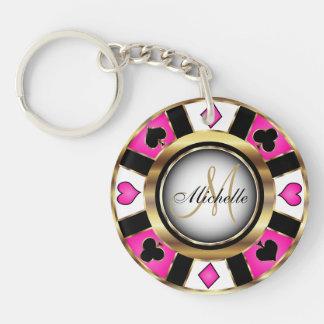 Gold and Pink Poker Chip Design - Monogram Key Ring