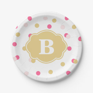 Gold and Pink Polka Dot Monogram Paper Plate