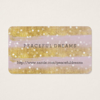 Gold and Pink Stripes Bokeh Confetti Business Card