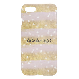 Gold and Pink Stripes Bokeh Confetti iPhone 8/7 Case