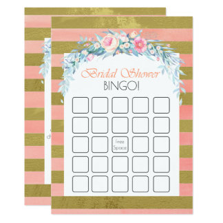 Gold and Pink Stripes Floral Bridal Shower Bingo Card