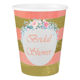 Gold and Pink Stripes Floral Swag Bridal Shower Paper Cup