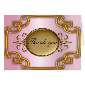 Gold and Pink Thank you Card Add your own text