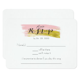 Gold and Pink Watercolor Wash Wedding RSVP Card
