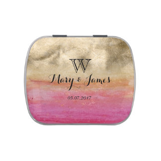 Gold and pink watercolor wedding design jelly belly candy tin