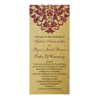 gold and pink Wedding program Rack Card Template