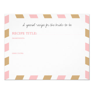Gold and Pink World Traveler Airmail RECIPE 11 Cm X 14 Cm Invitation Card