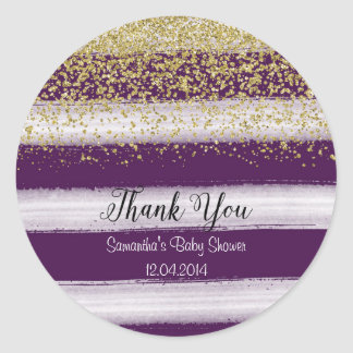 Gold and Plum Baby Shower Sticker