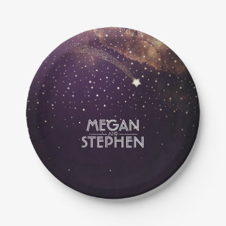 Gold and Plum Shooting Star Night Wedding Paper Plate