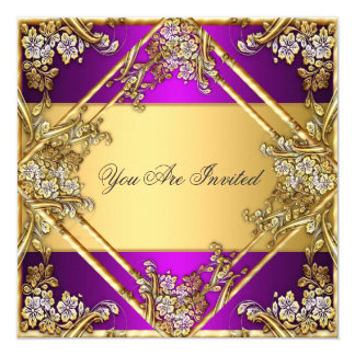Gold and Purple Any Party Invitation Gold Purple