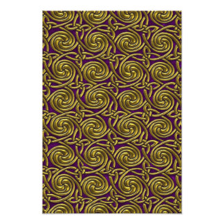 Gold And Purple Celtic Spiral Knots Pattern Photo