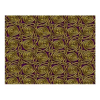 Gold And Purple Celtic Spiral Knots Pattern Postcard